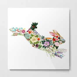 Botanical Rabbit Metal Print