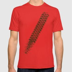 Mountain bike tyre marks X-LARGE Red Mens Fitted Tee