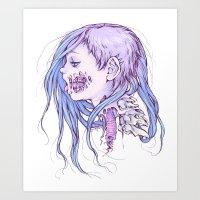 gore Art Prints featuring Pastel Gore Girl by Savannah Horrocks