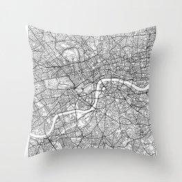 London Map White Throw Pillow