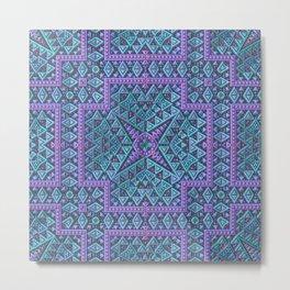 Geometric Mandala in Aqua and Lavender Metal Print