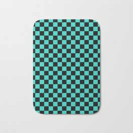 Black and Turquoise Checkerboard Bath Mat