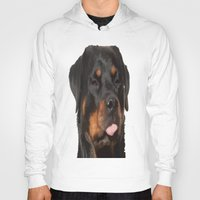 rottweiler Hoodies featuring Cute Rottweiler With Tongue Out by taiche