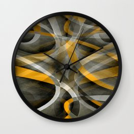 Eighties Retro Mustard Yellow and Grey Abstract Curves Wall Clock