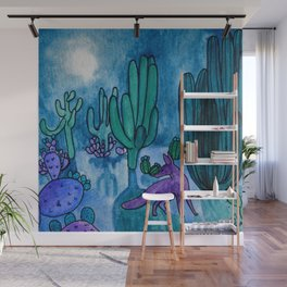 Watercolor desert night with fox Wall Mural