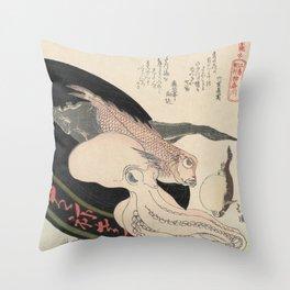 Kanagawa, Totoya Hokkei, c. 1890 Throw Pillow