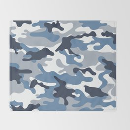 Blue and White Camo Throw Blanket