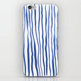 Vertical watercolor lines - blue iPhone Skin