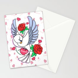 Cute Pigeon Flying - Peace & Love Stationery Cards