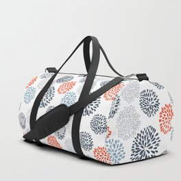 Doodle flowers in red and blue Duffle Bag