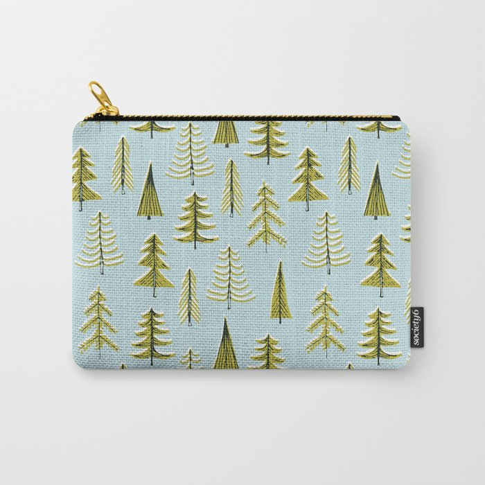 vintage evergreen tree pattern Carry-All Pouch