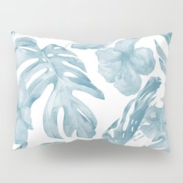 Gorgeous Blue Tropical Leaves + Flowers Pillow Sham