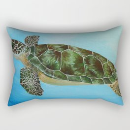 Green Sea Turtle Painting, Ocean Paintings, Sea Life Painting, Original Acrylic Painting on Canvas Rectangular Pillow