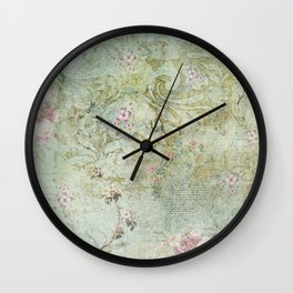 Vintage French Floral Wallpaper Wall Clock
