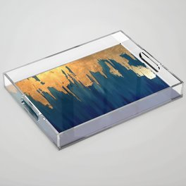 Gold Leaf & Blue Abstract Acrylic Tray