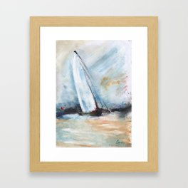 oil paint sailboat Framed Art Print