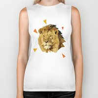 lion Biker Tanks featuring lion by gazonula