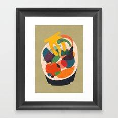 Fruits in wooden bowl Framed Art Print