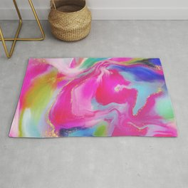 Vibrancy I - colorful abstract, liquid marble style Rug