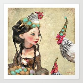 Three French Hens Art Print
