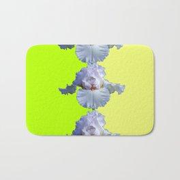 SNOW WHITE SPRING IRIS  GREEN-YELLOW  FLOWERS ART Bath Mat