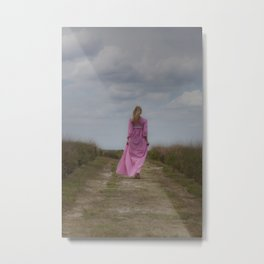 Waking on a rural path Metal Print