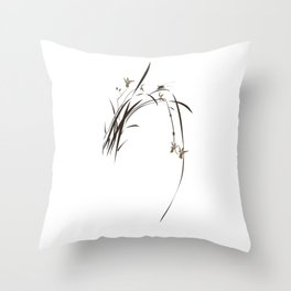 Singing Orchid Throw Pillow