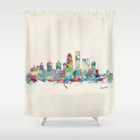 kentucky Shower Curtains featuring Louisville Kentucky skyline by bri.buckley