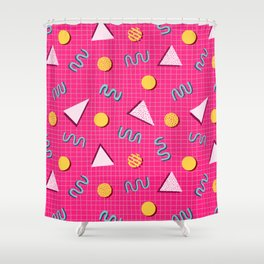 Geometric Memphis in Pink Shower Curtain