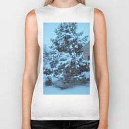 Snow Covered Pine Tree Biker Tank