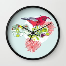 Red Ohia Lehua and Iwi Bird Wall Clock