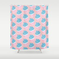 cupcake Shower Curtains featuring Cupcake by Inbeeswax