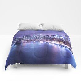 New York City Night Lights : Periwinkle Blue Comforters