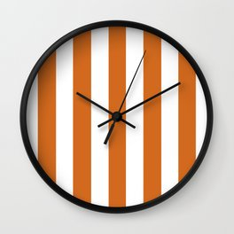 Cinnamon[citation needed] orange - solid color - white vertical lines pattern Wall Clock