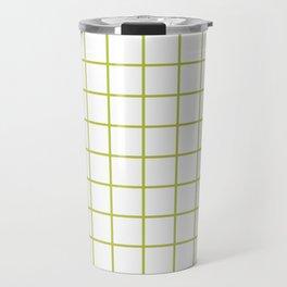 Grid Pattern Chartreuse Travel Mug