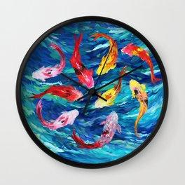 Koi fish rainbow abstract paintings Wall Clock