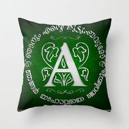 Joshua 24:15 - (Silver on Green) Monogram A Throw Pillow