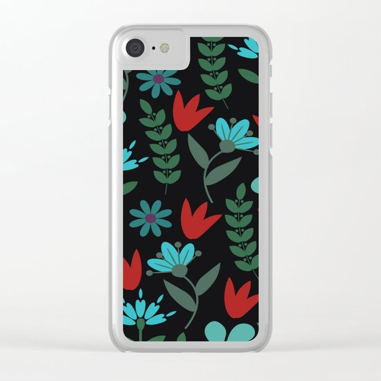 Flower Pattern XV Clear iPhone Case