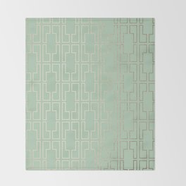 Simply Mid-Century in White Gold Sands and Pastel Cactus Green Throw Blanket