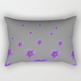 PURPLE FLOWERS COLLAGE CHARCOAL GREY Rectangular Pillow