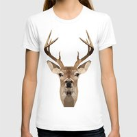 low poly T-shirts featuring Low Poly Deer by Nick Seils