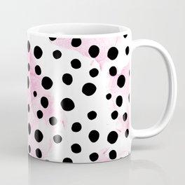 Modern abstract black pink watercolor polka dots Coffee Mug