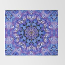 Summer sky Delphinium mandala Throw Blanket