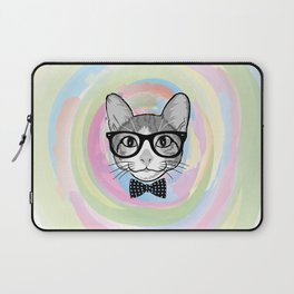Black White Cat Hipster and the Watercolor Rainbow Circle Laptop Sleeve