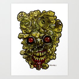 Heads of the Living Dead Zombies: Cheese Curd Zombie Art Print