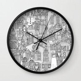 vintage halloween black white Wall Clock