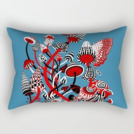 Magic Mushroom Red black blue Rectangular Pillow