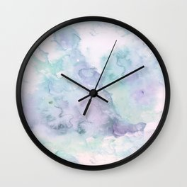 Pastel modern purple lavender hand painted watercolor wash Wall Clock