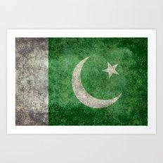 Pakistani flag, vintage retro style Art Print