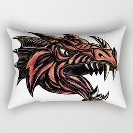 Angry Dragon Head Scratchboard Rectangular Pillow